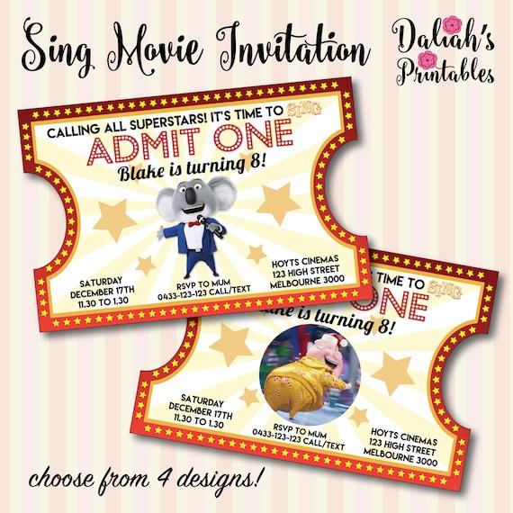 Sing Movie Invitation Sing Movie Invite Sing by DaliahsPrintables