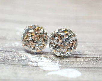 Silver Glitter Earrings, Sparkly Metallic Silver Party Jewelry, Christmas Studs New Years Eve Parties, Holiday Gift Ideas