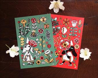 Botanic flowers illustration print