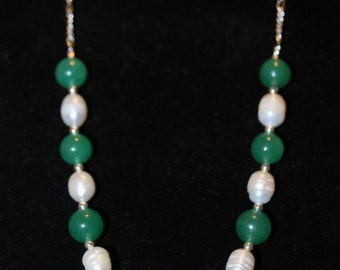 "KCN-3035 - 24"" Adventurine and Freshwater Pearl Necklace"