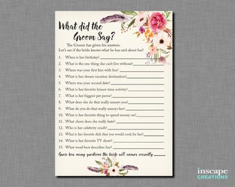 Boho What did the Groom Say about his Bride? Bohemian What did He Say about Her? Who Knows Groom Best? Rustic Newlyweds Bridal Shower Game