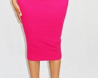 Hot Pink Textured Pencil Midi Skirt