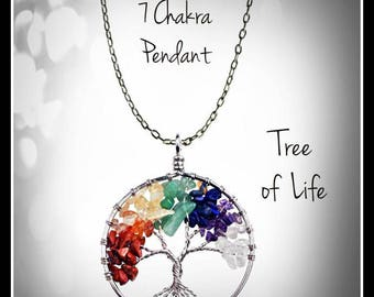 Chakra, Tree of Life Pendant, Gem stone necklace, Tree of life necklace, Chakra necklace, tree of life, Zen necklace, Spiritual necklace