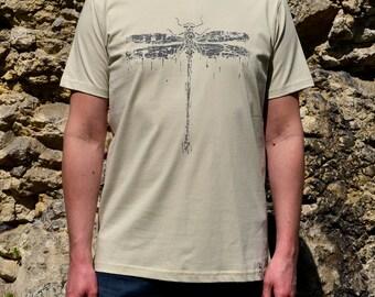 Man's T-Shirt with Dragon Fly Screen Print, Beige, Grey, Clothes for Him, Man's Shirt, Men T Shirt Beige, Man T Shirt Grey