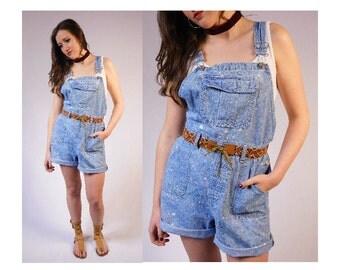 Vintage Denim Overall Shorts Bleach Spattered Overall Shorts Bib Shorts Shortalls Vintage Shortalls