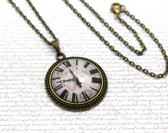Clock on a Map, Cartography, Travel Necklace or Keychain, Keyring