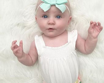 Scalloped School Girl Bow - Baby Headband - Baby Bows - Photo Props - Headbands or Clip - Infant and Toddler - Newborn - Baby Girl