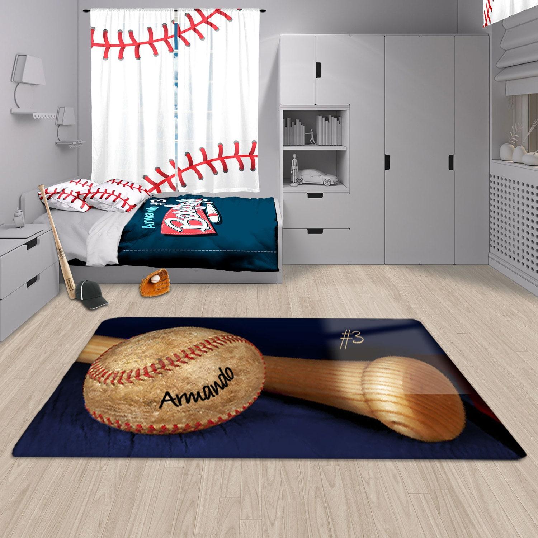 Baseball Rug: Baseball Decor Baseball Area Rug Personalized Rug Custom
