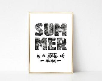 Summer Printable Art, Printable Wall Art Print,Typography Print,Wall Print Quote,Tropical Leaves Print,Digital Print,Instant Download