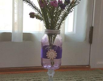 Purple Mason Jar Centerpiece, Purple Tinted Mason Jar, Colored Mason Jar, Rustic Home Decor and Wedding, Party Centerpieces