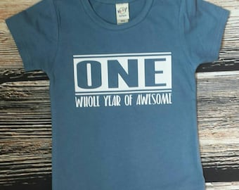 One Whole Year Awesome Birthday Shirt, First Birthday Boy Shirt, Birthday Boy Shirt