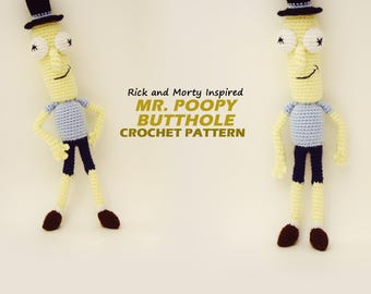 Amigurumi Mr. Poopy Butthole Pattern / Rick and Morty Inspired Crochet Pattern / Photo Tutorial / Instant Download