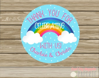 Rainbow Birthday Printable Cupcake toppers, labels, Clouds, Bright Colors, digital printable