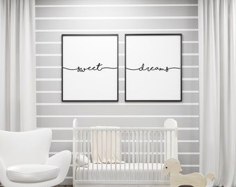 Sweet Dreams, Children Art, Nursery Wall Art, Baby Room Decoration, Kid Room Poster, Play Room Wall Art, Instant Download JPG