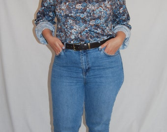 The Villager 1970s Floral Vintage Blue Blouse