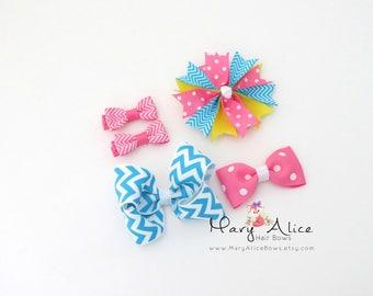 Hair Bow Sampler Set- 5 Bows varied sizes, Large Bow, Girls Hair Bow, Blue Bows, Green Bows, Toddler Hair Bow, Alligator Clip- Made to Order