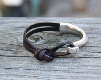 Chocolate Brown Leather Knotted Bracelet - Leather Jewerly - Leather Bracelet for Men or Women - Leather Bracelet with Hook Clasp