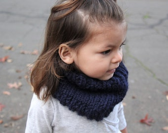 NAVY BLUE Cowl | Ribbed Cowl | Toddler Cowl | Child Cowl | Adult Cowl | Knitted Scarf | Fall | Winter |