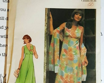 """1977 Butterick """"Seams Slimmer"""" Misses Mini or Maxi Dress With Shawl Size 18 UNCUT FF Sewing Pattern ReTrO Cruisewear!"""
