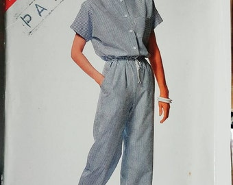 1988 6401 Butterick See n Sew Misses Jumpsuit Sizes 16-24 Uncut FF Sewing Pattern ReTrO!