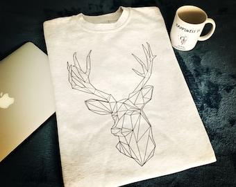 Geometric Deer Sweatshirt, Deer sweatshirt, Reindeer shirt, Geometric Animal Print, Sweatshirt, Wild Animal Sweatshirt, Deer sweater