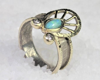 Natural oxidized silver band ring with opal and diamonds and gold,