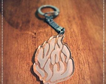 My fire Judaica key chain, Ha'esh sheli hebrew script, rabbi nachman, breslev, uman, Jewish gift, judaica gift, belief statment.