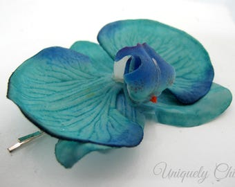 Turquoise orchid hair flower, Bridal hair pin, Wedding hair accessory, Real touch hair flower, Wedding hair pin, Tropical hair flower