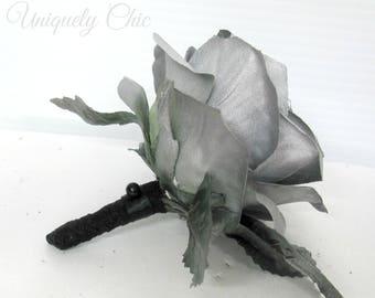 Silver rose boutonniere, Groom Groomsmen boutonniere, Silver prom boutonniere, Silk wedding flower lapel pin