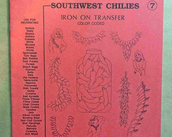 Southwest Chilies Iron On Transfers - Embroidery Iron On Transfers - Fabric Painting Iron On Transfers - Southwest Decor - Southwestern Art