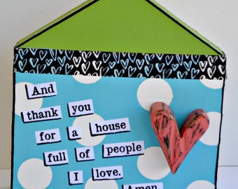 Thank You for a House Full of People I Love. House sign. New Home sign. House Painting. Housewarming Gift. Home Sweet Home. Colorful House.