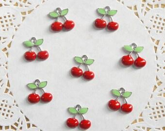 Enamel Style Retro Cherry Charms (8pcs)