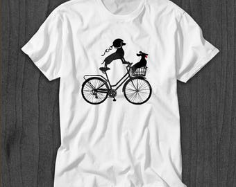 Vintage Dachshund Bicycle Men's T-shirt - Funny Dachshund Shirt for Him - Wiener Dog Tee - Dachshund Art - Doxie Lover Shirt