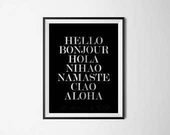Hello Bonjour Hola Silver Foil Print - Wall Art - Elegant Room decor - Black Silver Print - Gift Idea - Minimalistic Print