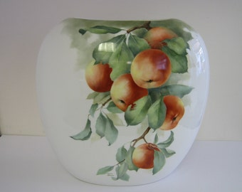 Large hand painted bone china vase with apple design