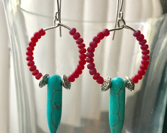 Howlite and Red Glass Earrings
