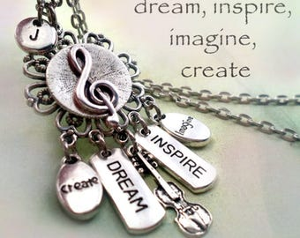 Violin Necklace w-Letter Charm, Fiddle Necklace, Birthday Gift, Fiddler Gift, Violinist Gift, Dream Inspire Create Imagine, Birthday Gift