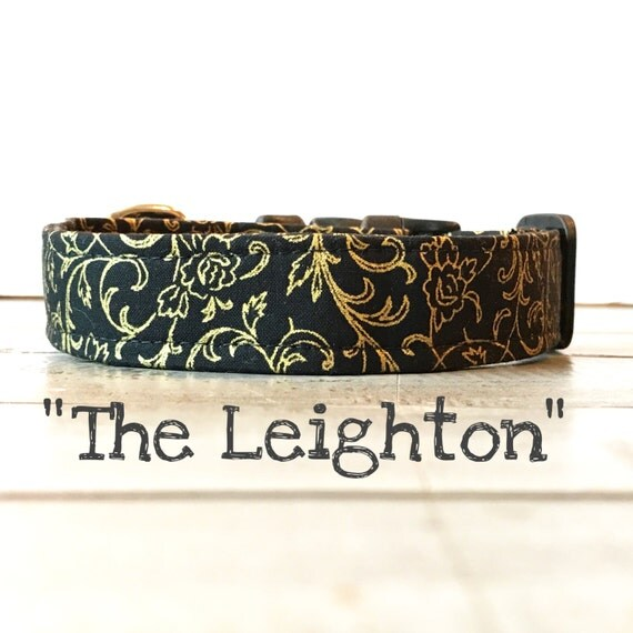 Last Chance!! Elegant DOG COLLAR, Made to Order, Black and Gold, Gold Sparkle, Classic COLLAR, Gender Neutral, Modern Dog Collar,