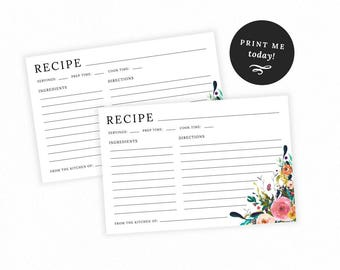 Floral Recipe Cards and Sign Printable, Editable Recipe Card Sign, Flower Bridal and Baby Shower, Cooking, PDF, Kitchen, MAM106_40