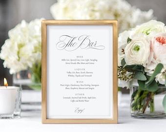 The Bar Menu Sign Editable PDF Template, Customized Drinks, Wedding, Printable, Classic Calligraphy, MAM211_04