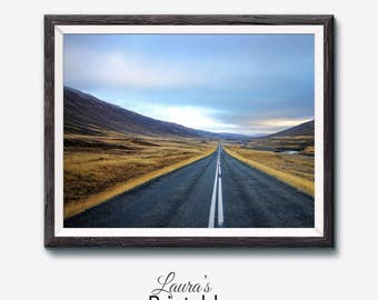 Road Photo Print, Landscape Photo, Country Road, Road Print, Road Art, Nature Print, Mountain Print, Rustic Art, Printable Iceland Photo