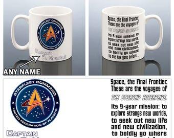 STAR TREK Personalised Starfleet Command Captain Mug Birthday Gift Dad Starship Enterprise Men Him Present for Friend Graduation Coffee Mug