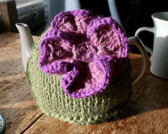Purple flower tea cozy