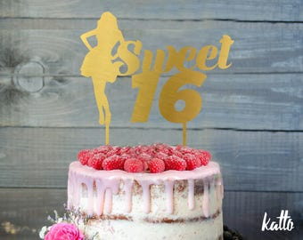 Sweet sixteen Birthday Cake Topper-  Silhouette sweet sixteen birthday Cake Topper- Sweet 16 Cake Topper- Quinceanera Cake Topper