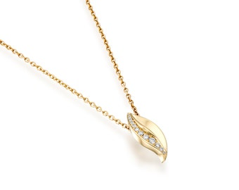 Diamond necklace, Leaf necklace, Yellow gold necklace, Diamond pendant necklace, Diamond gold pendant necklace, Gold leaf necklace