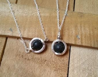 Lava Stone Aromatherapy Diffuser Necklace - Volcanic Rock Necklace, Oil Diffuser, Lava Stone Necklace, Simple Necklace, Gemstone Necklace