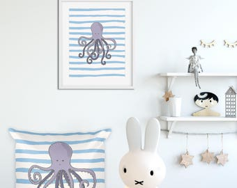 Sea world pillow, Octopus throw pillow, FREE Octopus print, Sea blue pillow, Octopus kids decor, Octopus kids decor, cotton nursery pillow