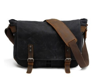 Father's Day Gifts, Waxed Canvas Messenger Bag, Leather Messenger Bag, Laptop Messenger Bag, Men Messenger Bag, Messenger Bag Men, Satchel