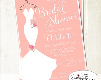 Wedding Dress Bridal Shower Invitation, Bridal Shower Invite, Bridal Gown Shower Invitation