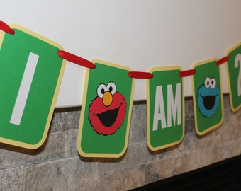 Sesame Street birthday banner with I am age | Elmo banner | Cookie Monster banner | Sesame Street theme | Elmo decorations